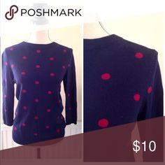 Talbots Polka Dot Sweater Talbots sweater. Navy blue with maroon polka dots. Cotton and rayon blend. 3/4 sleeves.  Size Small Talbots Sweaters Crew & Scoop Necks