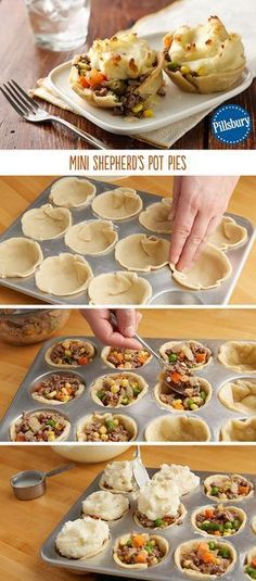 Mini shepherds pies are sure to be a new family favorite recipe! Use purchased or leftover mashed potatoes for a quick meal. This muffin tin meal makes dinner easy as pie! (healthy meals for dinner muffin tins) Muffin Pan Recipes, Pie Recipes, Cooking Recipes, Party Recipes, Dinner Recipes, Cooking Eggs, Skillet Recipes, Cooking Gadgets, Quick Recipes
