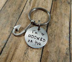 Boyfriend Fishing Keychain - I'm HOOKED on you - Hand Stamped Key Chain - Gift for Boyfriend - Anniversary - Husband - Fisherman Gift - kg3 by kimgilbert3 on Etsy