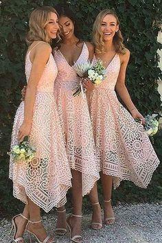 Assymetrical pink lace bridesmaids  dresses
