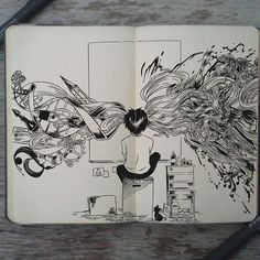 Arquivos Gabriel Picolo - Burn Book - Você já deve ter ouvido falar do Gabriel Picolo, um ilustrador Brasileiro que ficou famoso por um - Vexx Art, Ink Art, Sketchbook Drawings, Drawing Sketches, Arte Indie, Dark Art Drawings, Sketchbook Inspiration, Doodle Art, Art Inspo