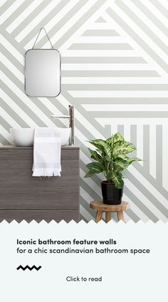 Creating a Scandinavian feature wall is a great way to elevate a Nordic inspired interior in any space of the home, but installing a unique feature wallpaper in your bathroom is the perfect way of adding that scandi character to your home. Style with uniq Bathroom Feature Wall, Loft Bathroom, Dream Bathrooms, Amazing Bathrooms, Bathroom Ideas, Scandinavian Wallpaper, Scandinavian Bathroom, Scandinavian Interior, Bathroom Wallpaper