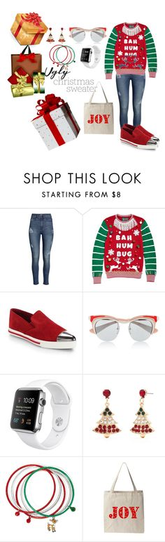 """""""Ugly Christmas Sweater"""" by tweedleduh on Polyvore featuring H&M, Ugly Christmas Sweater, Miu Miu, Prada, Kim Rogers, contestentry and uglychristmassweater"""