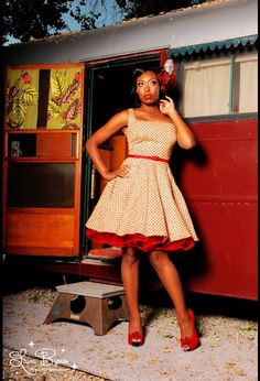 Lily Dress: The crinoline and red peep-toes would definitely have to be purchased as well. $86