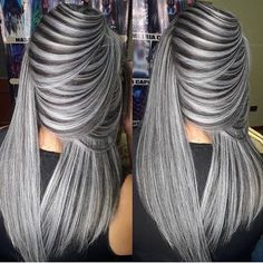 Self-respecting girls always give people a fresh and clean feeling. This also happens with the most popular stylish hair designs. we have brought you the latest European and American fashion trend. Grey Hair Wig, Grey Blonde Hair, Silver Grey Hair, Lace Hair, Brown Blonde, Gray Hair Highlights, American Hairstyles, Pinterest Hair, Ombre Hair Color
