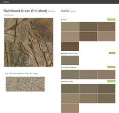 Rainforest Green (Polished). Marble Collection. Marble. Daltile. Behr. Ralph Lauren Paint. Sherwin Williams. Valspar Paint.  Click the gray Visit button to see the matching paint names.