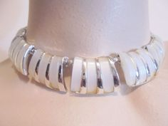 Vintage Thermoset Collar Necklace/Choker CHAREL White Silver Plated Tone 1950's! #Charel #Collar