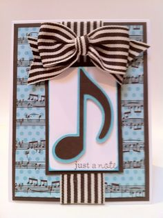 Just a note card made using a music note and musical score background