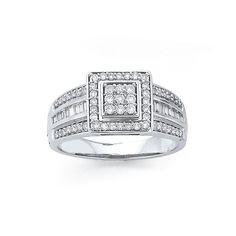 9ct White Gold Diamond Round Brilliant & Baguette Fancy Square Dress Ring