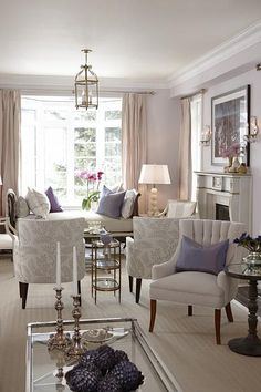 sarah richardson sarah house 4 living room pink lavender- Two Seating areas in a long/ narrow room. Narrow Living Room, Home Living Room, Living Room Designs, Living Room Decor, Living Spaces, Classic Living Room, House Seasons, Design Salon, Home And Deco