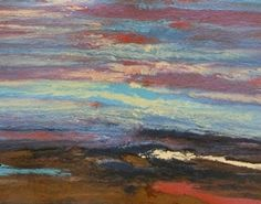 """Abstract Landscape Sunset Painting """"Reflections #219"""" by International Contemporary Landscape Artist Kimberly Conrad"""