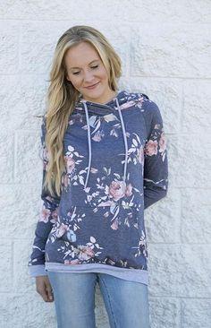 Lizzie & Mae - Navy Floral Hooded Sweatshirt