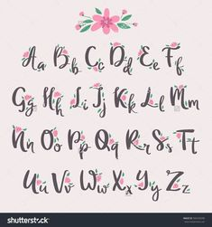 Vector colorful flower font nature colorful summer type and hand drawn alphabet spring beautiful flora set blossom lettering romantic cute design illustration. ☘For Design Illustratins CLIC HERE -☘ illustrations vector design illustration Cursive Alphabet, Hand Lettering Alphabet, Brush Lettering, Beautiful Handwriting Alphabet, Font Styles Alphabet, Calligraphy Fonts Alphabet, Cute Alphabet, Caligraphy E, Alphabet Design Fonts