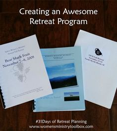 Day 16 - Creating an Awesome Retreat Program - Women's Ministry Toolbox : Creating an Awesome Retreat Program – Tips and Ideas for making your retreat program rock! I share details from REAL retreat programs at Women's Ministry Toolbox.