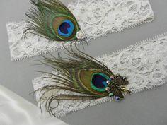 Ivory Bridal Garter 2 pc set Peacock Feather by DESIGNERSHINDIGS, $25.00