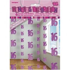 Pink Glitz 16th Birthday Six String Party Decorations