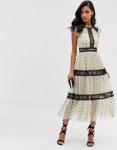 Buy Lace & Beads midi dress in spotty mesh with lace inserts in cream at ASOS. Get the latest trends with ASOS now. Pop Fashion, Autumn Fashion, Womens Fashion, Asos, Party Wear For Women, Mode Pop, Robes Midi, Lace Insert, Mi Long