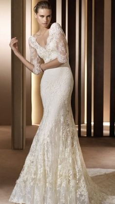 My wedding dress will for sure be lace and silk/chiffon and I'm totally digging these 3/4 sleeves