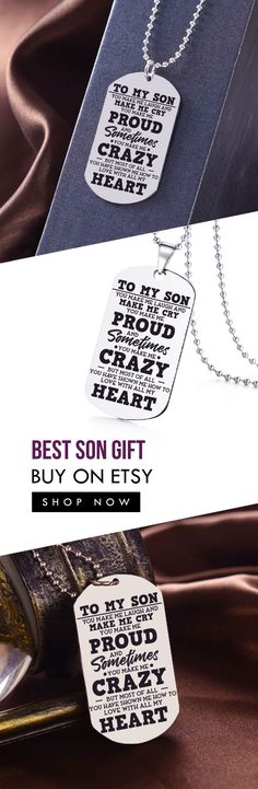 0e91ea36d Beautiful To My Son Necklace From Mom - Best Gift for Birthday, Graduation,  Military