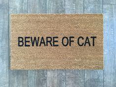 Beware Of Cat doormat / Hand painted outdoor by NickelDesignsShop
