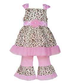 This Pink & Brown Cindy Tunic & Pants - Infant, Toddler & Girls by AnnLoren is perfect! #zulilyfinds
