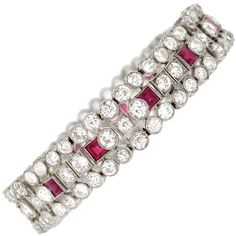 Pre-owned Edwardian Ruby Diamond Platinum Bracelet ($32,995) ❤ liked on Polyvore featuring jewelry, bracelets, link bracelets, drusy jewelry, ruby jewellery, pre owned jewelry, diamond bangle and diamond jewellery