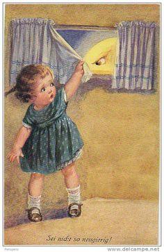 Vintage postcard - Illustration by Wally Fialkowska