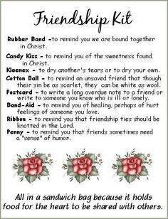 Friendship Kit - love this idea for women& ministry devotion or lesson fri., Diy And Crafts, Friendship Kit - love this idea for women& ministry devotion or lesson friendshipkitroses. Secret Pal, Secret Sister Gifts, Ladies Luncheon, Girls Camp, Girls Night, Activity Days, Christian Women, Christian Singles, Homemade Gifts