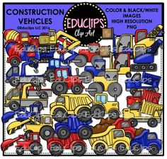 This is a set of construction vehicles in primary colors. There are 2 or 3 different colors for each vehicles.The vehicles included in this set are: cement truck, crane, digger, engine/tractor, forklift, pick up, roller, tip truck and regular trucks (with and without full loads.42 images (30 in color and 12  in B&W)This set contains all of the images shown.Images saved at 300dpi in PNG files.For personal or commercial use.Download preview for TOU.This is a zip file. $6.00