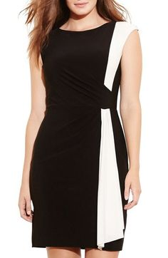 Lauren Ralph Lauren Two-Tone Jersey Sheath Dress (Plus Size) available at #Nordstrom