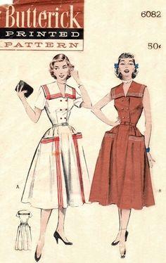 Dress Pattern Butterick 6082 Double by FriskyScissors 1950s Dress Patterns, Dress Sewing Patterns, Vintage Sewing Patterns, Clothing Patterns, Vintage 1950s Dresses, Vintage Inspired Dresses, Vintage Outfits, 60s Dresses, Vintage Clothing