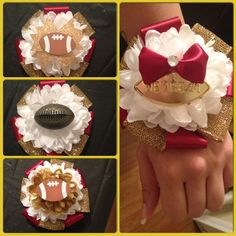 Wrist mums for football moms to wear on the field. Homecoming Mums Senior, Football Homecoming, Homecoming Garter, Homecoming Corsage, Homecoming Spirit Week, Homecoming Proposal, Homecoming Ideas, Homecoming Dresses, School Spirit Crafts