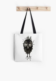 Funny Sleepy Owl Tote Bag by Paul Stickland for # StrangeStore on Redbubble Large Bags, Small Bags, Gta, Cotton Tote Bags, Reusable Tote Bags, Drunk In Love, White Tote Bag, Disney Merchandise, Vintage Cat