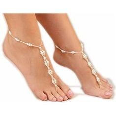 Cavigliera da sposa perle finte, sandalo a piedi nudi, braccialetto da caviglia per matrimonio in spiaggia, cavigliera crochet per donna.