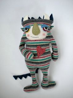 Sweater Monster Stuffed Animal Striped Repurposed Upcycled Wool.