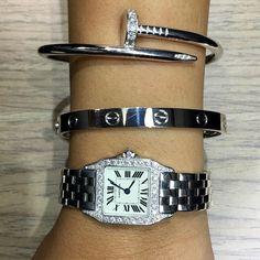 Cartier Love bracelet & Cartier Juste Un Clou bracelet in 18 carat white gold with Panthère de Cartier 18 carat White Gold watch #cartierlovebracelet #cartier #justeunclou #pantheredecartier #luxuryfashion #luxuryjewelry #miamijewelrystore #jewelrylover #watchesofinstagram #ladieswatch #miamijewelry #miamiliving
