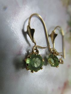 Older Vintage 14K Peridot Pierced Earrings  August Birthstone