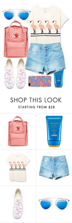 """""""Sunscreen Needed"""" by annanowogorski ❤ liked on Polyvore featuring Fjällräven, Shiseido, BucketFeet, Christian Dior and The Small Print."""