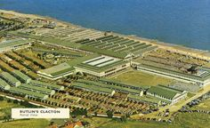 An aerial shot of Butlin's Clacton Holdiay Camp from The densely packing. Butlins Holidays, Seaside Holidays, British Seaside, Seaside Towns, Local History, Vintage Holiday, Aerial View, Childhood Memories, City Photo