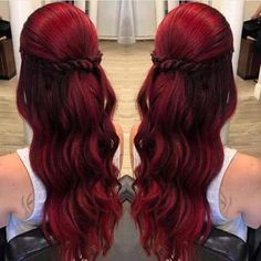 simple but romantic look style Love Hair, Dyed Hair, Hair Hacks, Red Hair Bright Cherry, Ruby Red Hair Color, Dark Red Hair Dye, Red Color, Dark Ombre, Hair Inspo