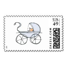 Blue Baby Carriage Postage Stamps. This is really great to make each letter a special delivery! Add a unique touch to invites or cards with your own photos and text. Just click the image to learn more!