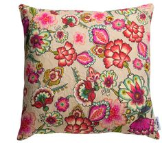 Desigual Happy Flowers Cushion - 45x45cm (70 CAD) ❤ liked on Polyvore featuring home, home decor, throw pillows, pink, pink accent pillows, desigual, cotton throw pillows, pink throw pillows and floral throw pillows