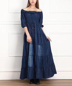 Dark Wash Off-Shoulder Denim Dress - Women by Miss Maxi #zulily #zulilyfinds