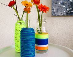Decorative little vase, made by wool. Diys, Glass Vase, Projects To Try, Home Decor, Milan, Seeds, Repurpose, Decoration Home, Bricolage