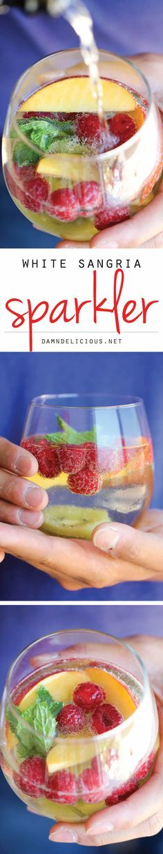 White Sangria Sparkler - A refreshing, bubbly sangria loaded with tons of gorgeous fruity goodness. And it takes 5 min to put together!