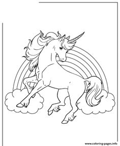 Print unicorn horse with rainbow for girls coloring pages