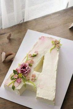 by tabatha - Cake - Cake-Kuchen-Gateau Pretty Cakes, Cute Cakes, Beautiful Cakes, Amazing Cakes, Alphabet Cake, Decoration Patisserie, Number Cakes, Buttercream Cake, White Buttercream