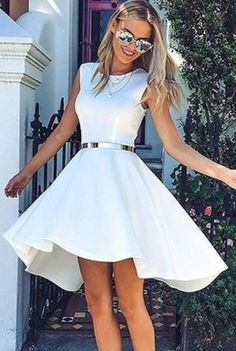 Hot Sale Colorful Prom Dresses 2018 High Low Bateau Sleeveless White Satin Homecoming Dress on Luulla Homecoming Dresses High Low, Prom Dresses 2018, Evening Dresses, Short Dresses, Maxi Dresses, Teen Dresses, Club Dresses, Casual Dresses, Wedding Dresses
