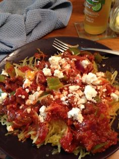 Speghetti squash, meat sauce with lots of veggies!