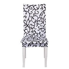 1 Pack Red Stylish Linen Look Fabric Upholstered Slipcover Protector for Scroll Top Dining Chair